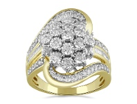 Bevilles Alternate Row Ring with 1.00ct of Diamonds in 9ct Yellow Gold