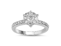 Bevilles Brilliant Surround and Shoulder Ring with 3/4ct of Diamonds in 18ct White Gold