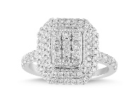Bevilles Emerald Look Double Halo Ring with 1.00ct of Diamonds in 18ct White Gold