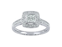 Bevilles Invisible Princess Ring with 1/2ct of Diamonds in 18ct White Gold