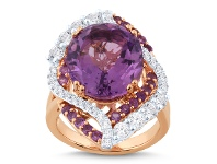 Bevilles Oval Purple Amethyst Ring with 0.30ct of Diamonds in 9ct Rose Gold - N