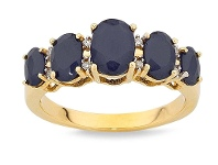 Bevilles 9ct Yellow Gold Diamond Set Sapphire Ring