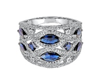 Bevilles 9ct White Gold Sapphire and Diamond Ring