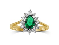 Bevilles Emerald Pear with Brilliant Miracle Surround Cluster Ring in 9ct Yellow Gold