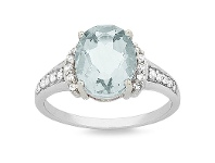 Bevilles 9ct White Gold Aquamarine Oval Ring