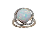 Bevilles Created Opal Diamond Set Ring in 9ct Yellow Gold