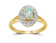 Bevilles 9ct Yellow Gold Created Opal & Diamond Ring