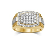 Bevilles 9ct Yellow Gold 1.00ct Diamonds Mens Ring