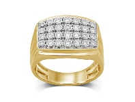 Bevilles Mens Ring with 1/2ct of Diamonds in 9ct Yellow Gold
