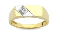 Bevilles Men's Diamond Set Tablet Ring in 9ct Yellow Gold
