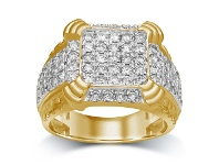 Bevilles Men's Ring with 2.00ct of Diamonds in 9ct Yellow Gold - T