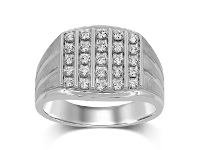 Bevilles Brilliant Channel Five Row Mens Ring with 3/4ct of Diamonds in 9ct White Gold