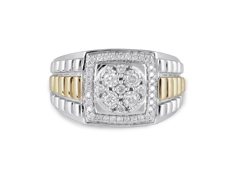 Rolex Look Shoulder Ring with 1/2ct of Diamonds in 9ct Yellow Gold and Sterling Silver