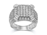 Bevilles Men's Square Look Ring with 3/4ct of Diamonds in Sterling Silver