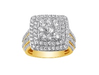 Bevilles Brilliant Channel Halo Ring with 2.00ct of Diamonds in 9ct Yellow Gold