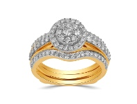 Bevilles 9ct Yellow Gold 1.00ct Diamond Perfect Harmony Ring - L