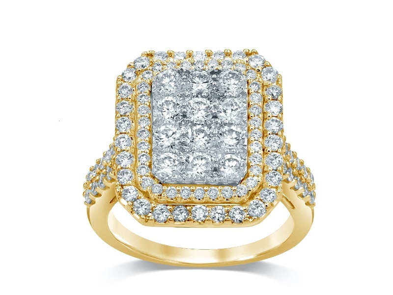 9ct Yellow Gold Emerald Shape Ring with 1.50ct of Diamonds