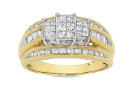 Bevilles 9ct Yellow Gold 1ct Diamond Ring