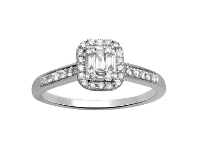 Bevilles Brilliant Baguette Ring with 1/2ct of Diamonds in 9ct White Gold - Q