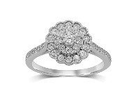 Bevilles Flower Ring with 1/2ct of Diamonds in 9ct White Gold - Q
