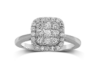 Bevilles Brilliant Claw Square Shape Cluster Ring with 0.60ct of Diamonds in 9ct White Gold
