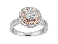 Bevilles 75pts of Diamonds 9ct White and Rose Gold Ring