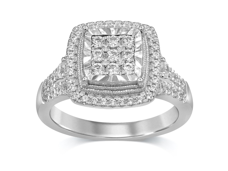 Brilliant Halo Ring with 3/4ct of Diamonds in 9ct White Gold - Q