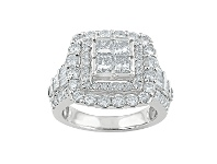 Bevilles 9ct White Gold 2.77ct Invisible Princess Diamond Ring