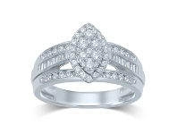 Bevilles 9ct White Gold Marquise Shape Ring with 1.00ct of Diamonds