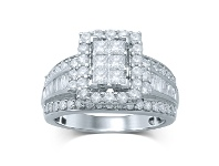 Bevilles 9ct White Gold Invisible Princess Ring with 2.00ct of Diamonds