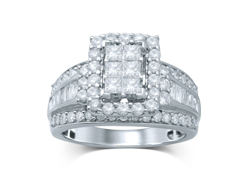 9ct White Gold Invisible Princess Ring with 2.00ct of Diamonds