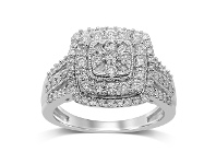 Bevilles Double Halo Sqaure Ring with 1.00ct of Diamonds in 9ct White Gold