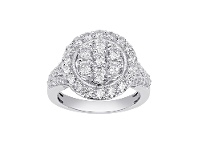 Bevilles Halo Composite Ring with 1.25ct of Diamonds in 9ct White Gold