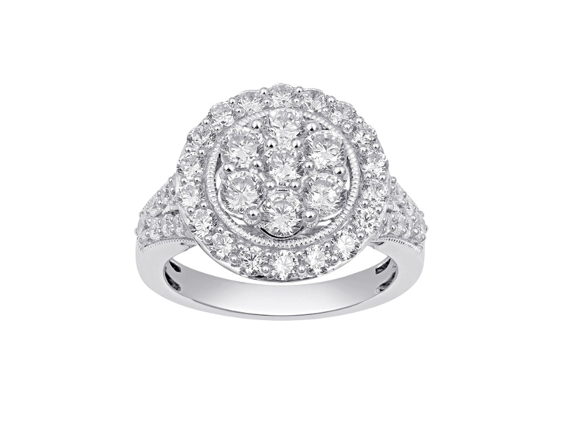 Halo Composite Ring with 1.25ct of Diamonds in 9ct White Gold