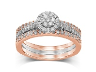 Bevilles 9ct White & Rose Gold 0.75ct Diamond Perfect Harmony Ring