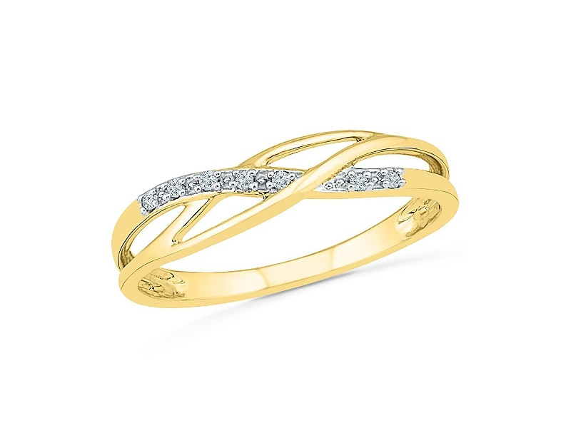 Diamond Set Weave Stackable Ring in 9ct Yellow Gold