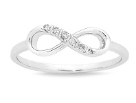 Bevilles 9ct White Gold Diamond Set Stackable Infinity Ring - N