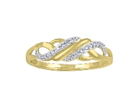 Bevilles Diamond Set Sweep Weave Stackable Ring in 9ct Yellow Gold