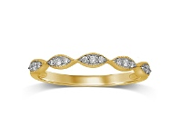 Bevilles Milgrain Diamond Stackable Ring in 9ct Yellow Gold