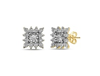 Bevilles 9ct Yellow Gold 0.20ct Diamond Square Star Stud Earrings