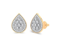 Bevilles Miracle Plate Halo Stud Earrings with 1/5ct of Diamonds in 9ct Yellow Gold