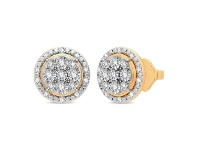 Bevilles Halo Stud Earrings with 1/5ct of Diamonds in 9ct Yellow Gold