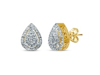 Bevilles 9ct Yellow Gold 0.25ct Diamond Pear Shaped Stud Earrings