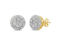 Bevilles Brilliant Miracle Halo Stud Earrings with 1.00ct of Diamonds in 9ct Yellow Gold