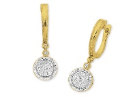 Bevilles 9ct Yellow Gold Diamond Halo Drop Earrings