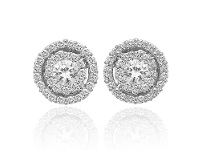Bevilles 9ct White Gold .50ct Diamond Halo Stud Earrings