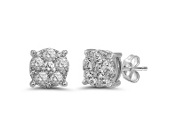 Bevilles Brilliant Surround Stud Earrings with 0.60ct of Diamonds in 9ct White Gold