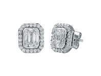 Bevilles Brilliant Emerald Stud Earrings with 3/4ct of Diamonds in 9ct White Gold