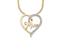 Bevilles 9ct Yellow Gold Diamond Set Mum Necklace