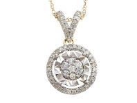 Bevilles Miracle Plate Halo Necklace with 1/5ct of Diamonds in 9ct Yellow Gold